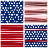Stars and stripes seasonal holiday patriotic background set