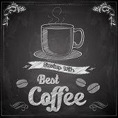 illustration of hot coffee on chalkboard