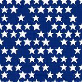 White stars in regular horizontal rows on dark blue seamless pattern