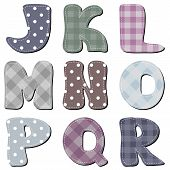 different textile scrapbook alphabet