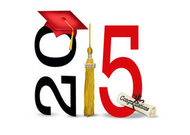 stock photo of tassels  - Red graduation cap with gold tassel and diploma for class of 2015 isolated on white - JPG
