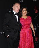 LOS ANGELES - DEC 11:  Salma Hayek & Francois-Henri Pinault arrives to the The First Annual Diamond Ball on December 11, 2014 in Beverly Hills, CA