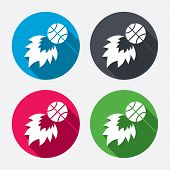 stock photo of fireball  - Basketball fireball sign icon - JPG