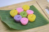 Thai Desserts On Banana Leaf