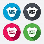 Best mom sign icon. Flower symbol.