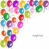 Colorful ballons and confetti vector background