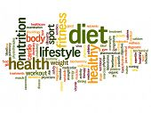 Concept or conceptual abstract diet and health word cloud or wordcloud on white background