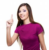 picture of casual woman  - Young beautiful smiling woman with big idea concept  - JPG