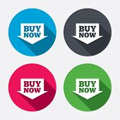 Buy now sign icon. Online buying arrow button.