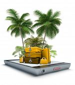 3D rendering of Luggage and tropical landscape, coming out of a smart phone screen