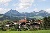 Idyllic Bavarian Landscape, Village And Zugspitze