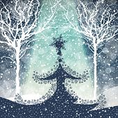 Merry Christmas Tree with Falling Snow