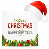Christmas Card With Santa Hat And Text With Gradient Mesh, Vector Illustration