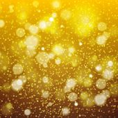 Christmas Golden Background bokeh effect defocused lights and snowflakes.. Vector