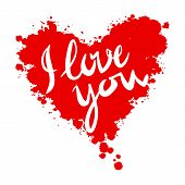 I love you heart red background painted with watercolors vector