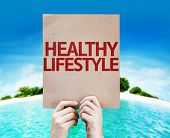 Healthy Lifestyle card with a beach background