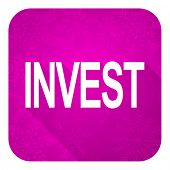 invest violet flat icon, christmas button
