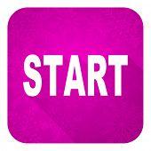 start violet flat icon, christmas button