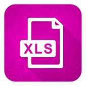 xls file violet flat icon, christmas button