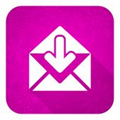 email violet flat icon, christmas button, post message sign