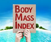 Body Mass Index card with a beach background