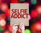 Selfie Addict card with colorful background with defocused lights