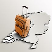 Travel To Netherlands. Orange Suitcase On 3D Map Of The Country