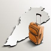 Travel To Lebanon. Orange Suitcase On 3D Map Of The Country