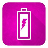 battery violet flat icon, christmas button, power sign