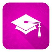 education violet flat icon, christmas button, graduation sign