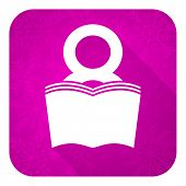 book violet flat icon, christmas button, reading room sign, bookshop symbol