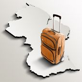 Travel To Guyana. Orange Suitcase On 3D Map Of The Country