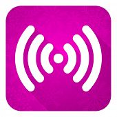 wifi violet flat icon, christmas button, wireless network sign