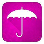umbrella violet flat icon, christmas button, protection sign