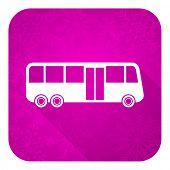 bus violet flat icon, christmas button, public transport sign