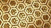 golden metal background from hexagon shapes