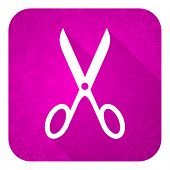 scissors violet flat icon, christmas button, cut sign