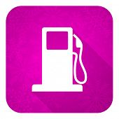 petrol violet flat icon, christmas button, gas station sign