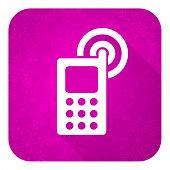 phone violet flat icon, christmas button, mobile phone sign