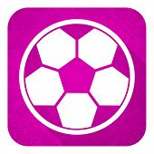 soccer violet flat icon, christmas button, football sign
