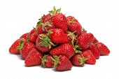 A Pile Of Fresh Strawberries Isolated On White Background