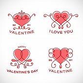 Graceful Floral Valentine Line Style Vector Heart Set