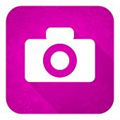 camera violet flat icon, christmas button
