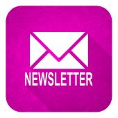 newsletter violet flat icon, christmas button