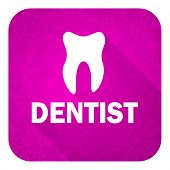 dentist violet flat icon, christmas button