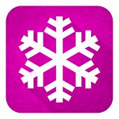snow violet flat icon, christmas button, air conditioning sign