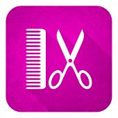 barber violet flat icon, christmas button