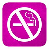 no smoking violet flat icon, christmas button