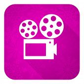 movie violet flat icon, christmas button, cinema sign