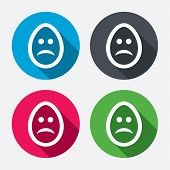 Sad egg face sign icon. Sadness symbol.
